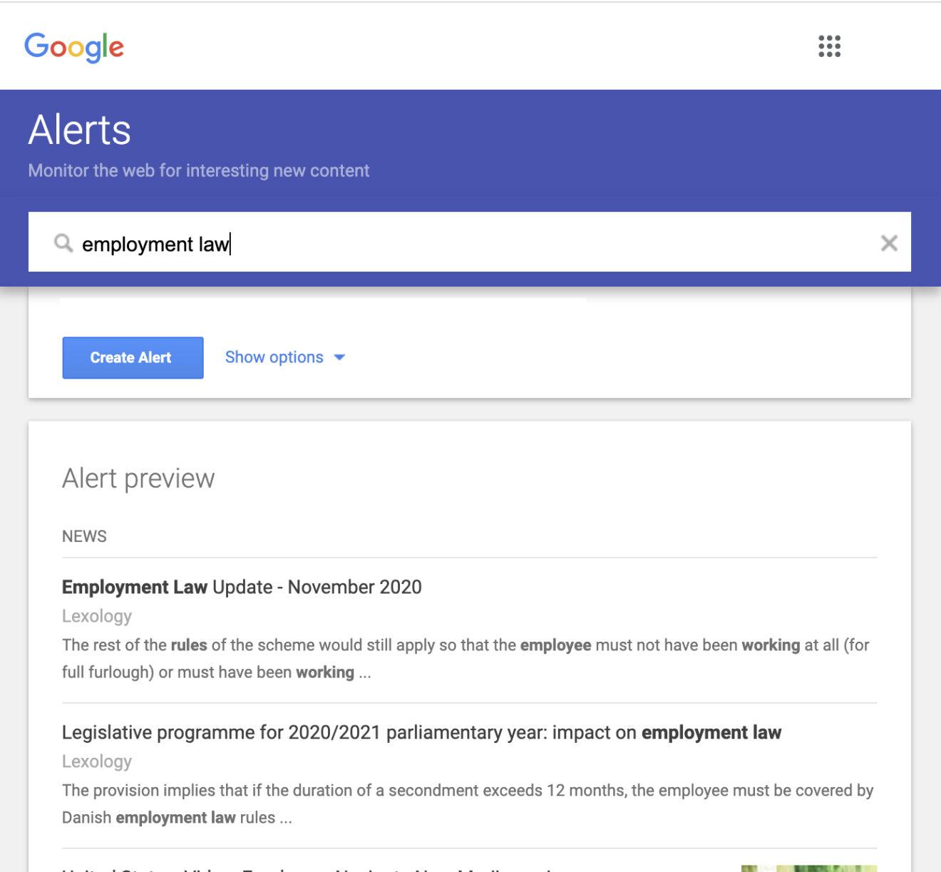 Google alerts on employment law