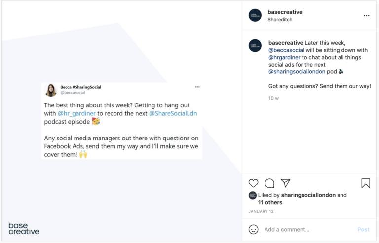 Cross-promoting Tweet as an Instagram post