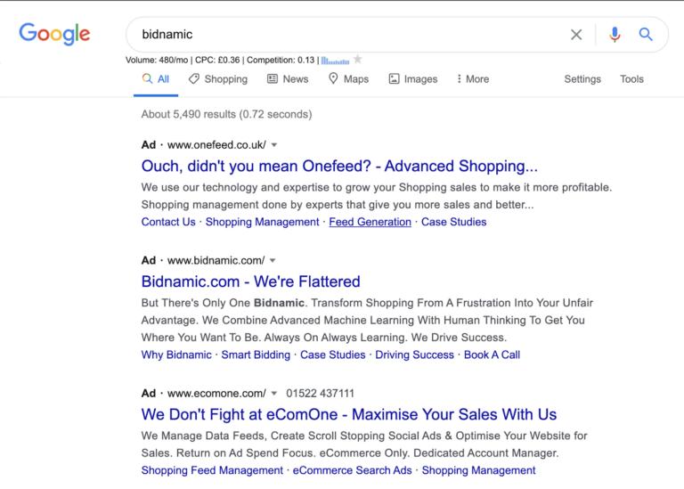 Bidnamic Google Ads example