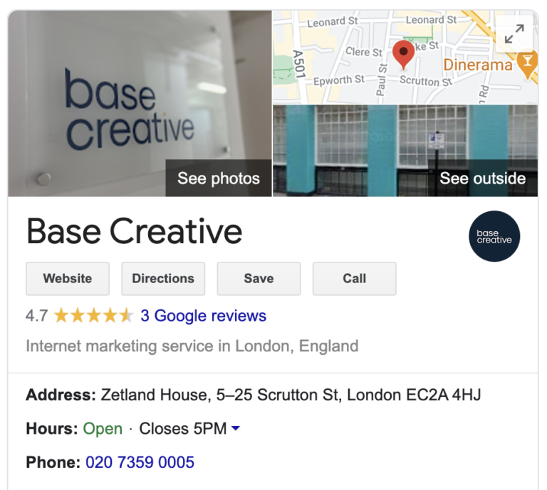 Google My Business for Base Creative digital marketing agency in London