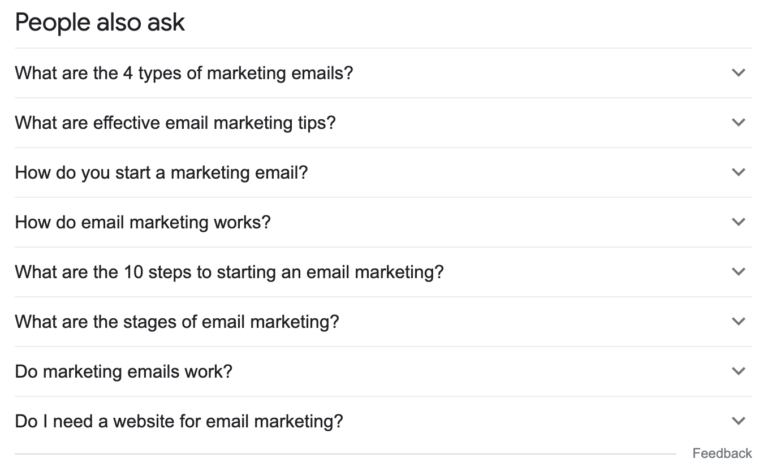"""People also ask for """"email marketing tips"""""""