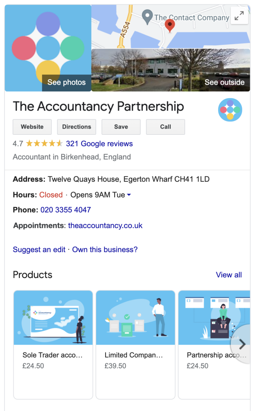 Google My Business profile for The Accountancy Partnership